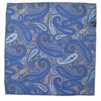 John & Paul Two-sided Blue Pocket Square with Blossoms and Paisley