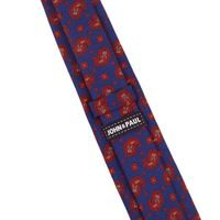 John & Paul Blue Necktie with Paisley Pattern and Blosoms
