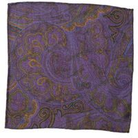 John & Paul Two-sided Purple Pocket Square with Birds and Paisley