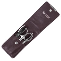 Erbe Solingen Four-Piece Manicure Set in Dark Brown Leather Pouch