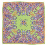 John & Paul Green Silk Pocket Square with Paisley Pattern
