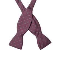 John & Paul Burgundy Silk Bowtie with Blue Blossoms