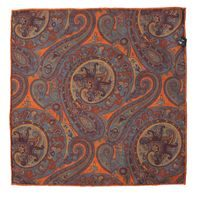 John & Paul Two-sided Orange Pocket Square with Blossoms and Paisley