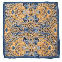 John & Paul Blue Pocket Square with Yellow Paisley