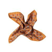 John & Paul Two-sided Orange Pocket Square with Checker and Paisley Patterns