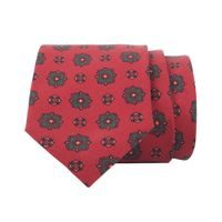 John & Paul Red Necktie with Fine and Large Blossoms