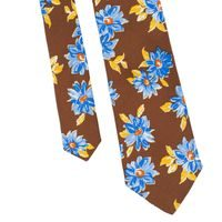 John & Paul Brown Necktie with Blossoms
