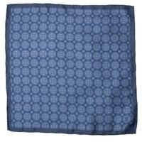 John & Paul Blue Pocket Square with Blossoms and Circles