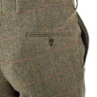 Walker Slater Edward Tweed Trousers - Moss Red Yellow Herringbone & Windowpane