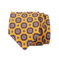 John & Paul Yellow Silk Necktie with Burgundy Blossoms
