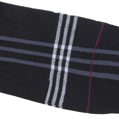 Di Carlo Egyptian Cotton Socks - Black with Grey & Burgundy Stripes