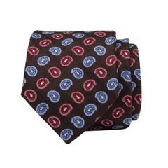 John & Paul Brown Silk Necktie with Two-colour Paisley
