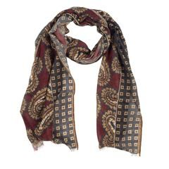 John & Paul Burgundy and Grey Wool Scarf with Blossoms and Paisley