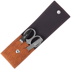 Erbe Solingen Three-Piece Matt Stainless Steel Manicure Set in Cognac Leather Pouch