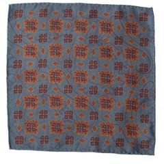 John & Paul Two-sided Blue Pocket Square with Red Blossoms and Paisley