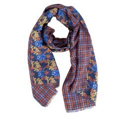 John & Paul Two-sided Orange and Blue Summer Scarf with Checkers and Flowers