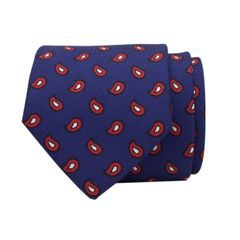 John & Paul Blue Silk Necktie with Red Paisley