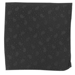 John & Paul Black Silk Pocket Square with Paisley