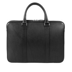 John & Paul Slim Black Vachetta Leather Briefcase