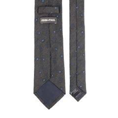 John & Paul Dark Grey Viscose and Silk Necktie with Blue Flowers