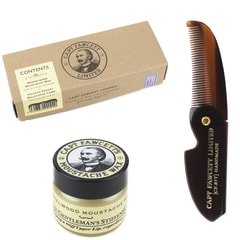 Captain Fawcett Sandalwood Moustache Wax & Foldable Beard Comb Gift Set