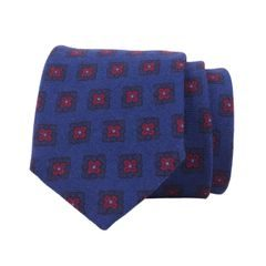 John & Paul Blue Necktie with Red Blossoms