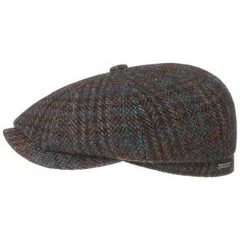 Stetson Hatteras Harris Tweed Winter Flat Cap - Brown