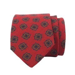 John & Paul Red Necktie with Large Blossoms