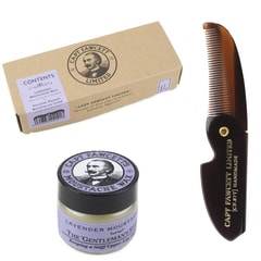 Captain Fawcett Lavender Moustache Wax & Foldable Beard Comb Gift Set