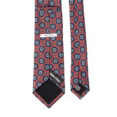 John & Paul Red Silk Necktie with Blue Blossoms