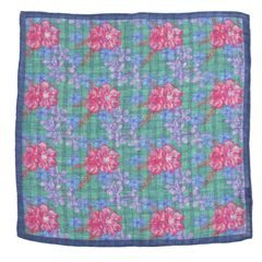 John & Paul Green Pocket Square with Flowers, Checkers and Blue Hem
