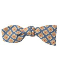 John & Paul Blue Wool Bowtie with Yellow Blossoms