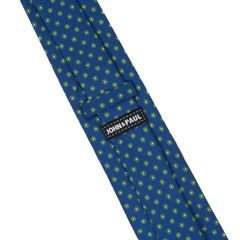 John & Paul Blue Necktie with Green Blossoms