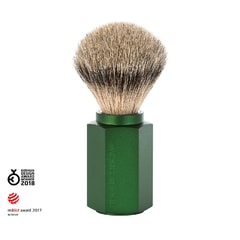 Mühle Hexagon by Mark Braun Silvertip Badger Green Shaving Brush