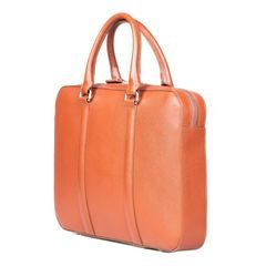 John & Paul Slim Cognac Leather Briefcase