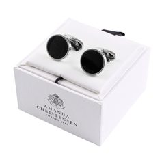 House of Amanda Christensen Black Onyx & Silver Round Cufflinks