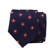 John & Paul Dark Blue Silk Necktie with Red Blossoms