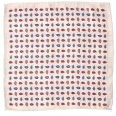 John & Paul Two-sided Beige Pocket Square with Checker and Paisley Patterns