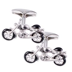 House of Amanda Christensen Silver Motorbike Cufflinks