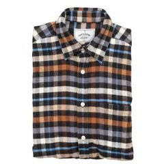 Portuguese Flannel Mob Shirt - Brown and Blue Checkers