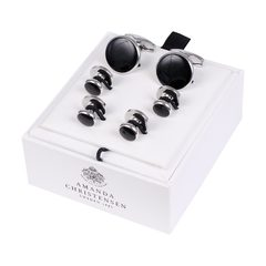 House of Amanda Christensen Black Onyx & Silver Cufflinks and Studs Set