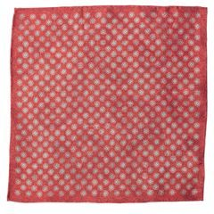 John & Paul Two-sided Red Pocket Square with Blossoms and Paisley