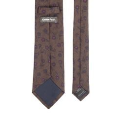 John & Paul Brown Viscose and Silk Necktie with Purple Flowers
