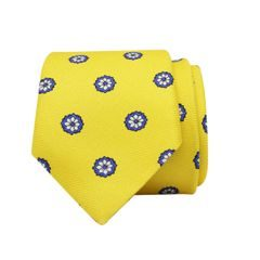 John & Paul Yellow Silk Necktie with Blue Blossoms