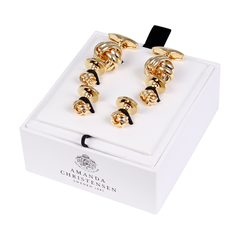 House of Amanda Christensen Black Onyx & Gold Knot Cufflinks and Studs Set