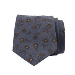 John & Paul Blue Viscose and Silk Necktie with Brown Flowers