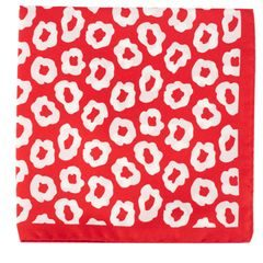 John & Paul Red Silk Pocket Square with White Blossoms