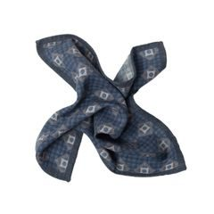 John & Paul Blue Pocket Square with Blossoms and Squares