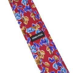 John & Paul Red Necktie with Colourful Flowers
