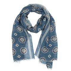 John & Paul Blue Wool Scarf with Blossoms and Stripes